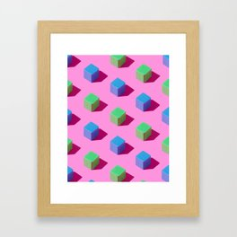 Wooden cubes Framed Art Print