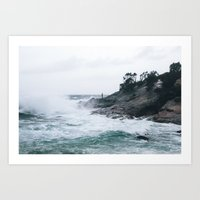 The man and the waves Art Print