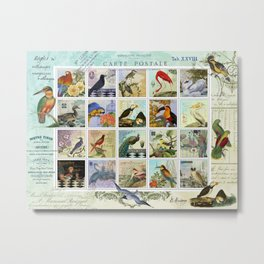 Birds of a Feather Postal Collage Metal Print