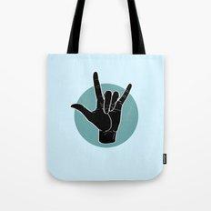 ILY - I Love You - Sign Language - Black on Green Blue 03 Tote Bag
