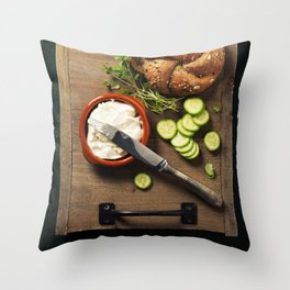making vegetarian sandwiches Throw Pillow