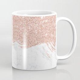 Trendy modern faux glitter rose gold brushstrokes white marble  Coffee Mug