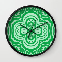 Four-leaf Clover Lace: Green Ivory Wall Clock