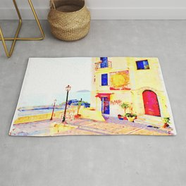 Foreshortening with sea and building with murals Rug