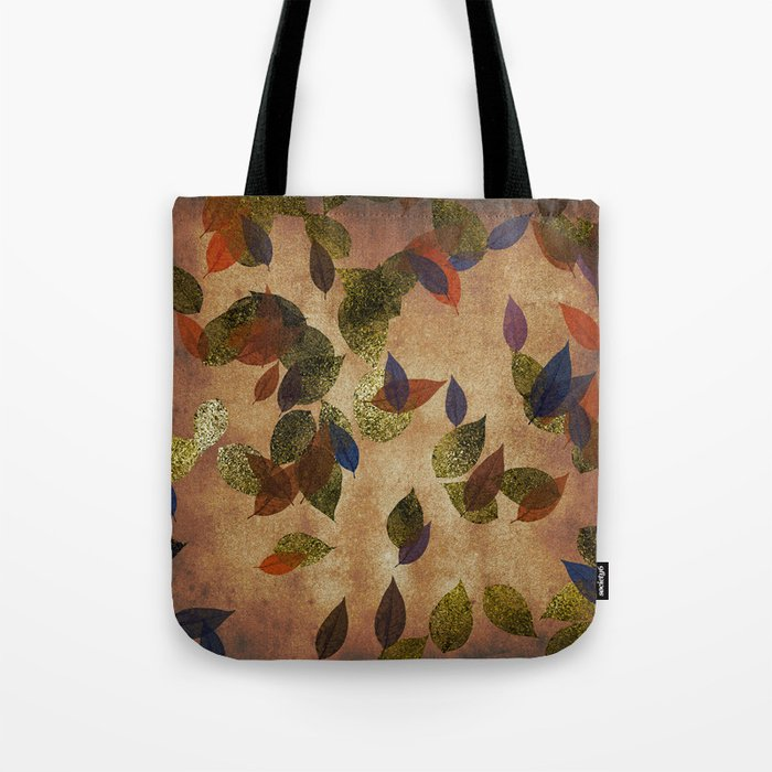 Autumn-world 3 - gold glitter leaves on dark backround Tote Bag