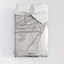 Cancun,Mexico City Map with GPS Coordinates Comforters