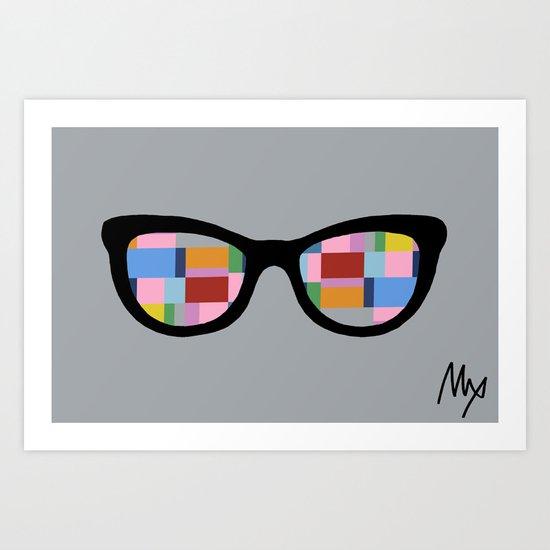 Square Eyes on Grey Art Print