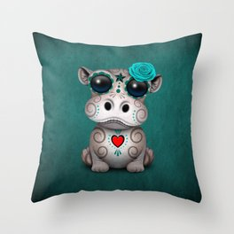 Blue Day of the Dead Sugar Skull Hippo Baby Throw Pillow