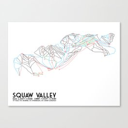 Squaw Valley, CA - Minimalist Trail Map Canvas Print