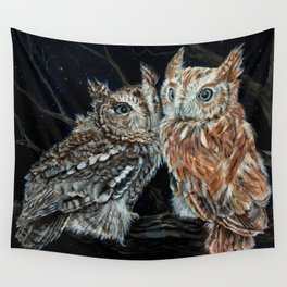 young love on a starry night - screech owls Wall Tapestry