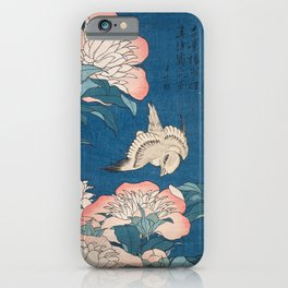 Katsushika Hokusai - Peonies and Canary, 1834 iPhone Case