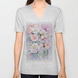 White Wild Roses Watercolor painting White Pink Rose Flower Bouquet Wedding decor Unisex V-Neck