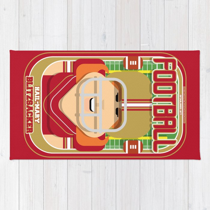 American Football Red and Gold - Hail-Mary Blitzsacker - Jacqui version Rug