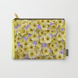 PALE YELLOW PETUNIAS LILAC PATTERN FLORAL Carry-All Pouch