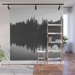 Wooded Lake Reflection Black and White Wall Mural
