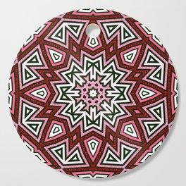 Geometric Red+Pink Star Cutting Board