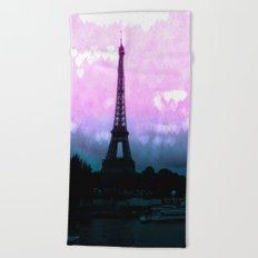 Paris Eiffel Tower : Lavender Teal Beach Towel