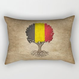 Vintage Tree of Life with Flag of Belgium Rectangular Pillow