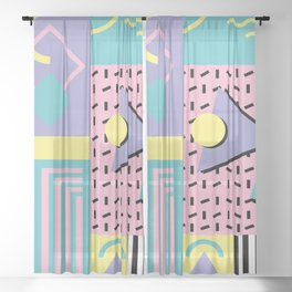 Memphis Pattern 27 - 80s - 90s Retro / 1st year anniversary design Sheer Curtain