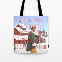 will ferrell Tote Bags featuring Christmas Cheer / Elf by Earl of Grey