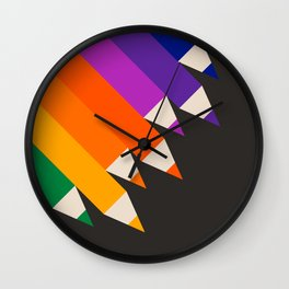 Rainbow Pencils Wall Clock