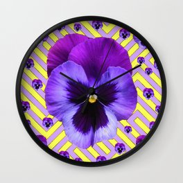 PURPLE PANSY  FLOWERS & YELLOW PATTERNS  GARDEN Wall Clock