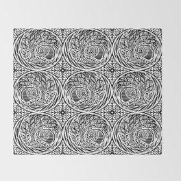 Tree motif in black in white Throw Blanket