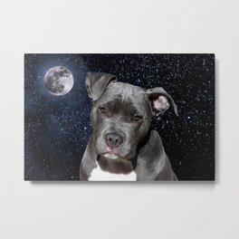 Pitbull Terrier and Moon Metal Print