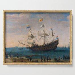 """Hendrick Cornelis Vroom """"Het uitzeilen van een aantal Oost-Indiëvaarders"""" Serving Tray"""