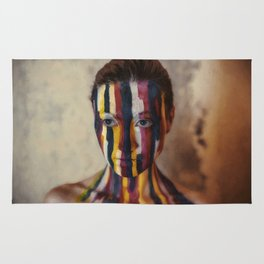Woman With Colorful Painted Face Rug