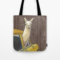 farm Tote Bags featuring Taxi Llama by Jason Ratliff