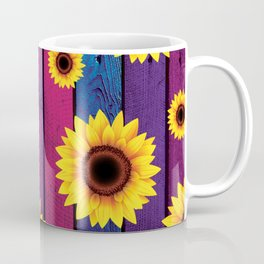 Sunflower Pattern on wood Coffee Mug