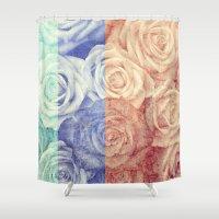 vintage flowers Shower Curtains featuring Vintage Flowers by Del Vecchio Art by Aureo Del Vecchio