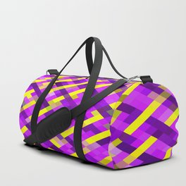 geometric pixel square pattern abstract background in pink purple yellow Duffle Bag