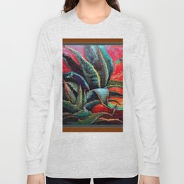 BROWN  DESERT AGAVE & BLUE DRAGONFLIES Long Sleeve T-shirt