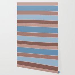 Brown-blue stripe Wallpaper