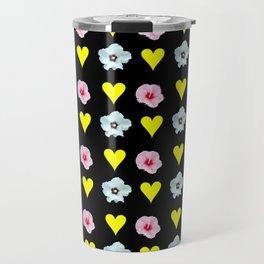 hearts and flowers -bloom,blossom,petal,floral,leaves,flor,garden,nature,plant. Travel Mug