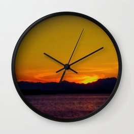 Seattle twilight -2 Wall Clock