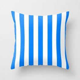 Vertical Stripes (Azure/White) Throw Pillow