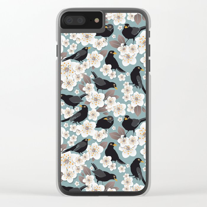 Waiting for the cherries I // Blackbirds blue background Clear iPhone Case