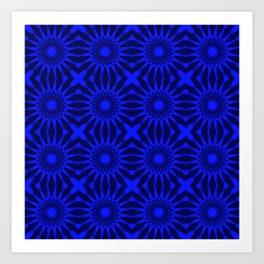 Blue Pinwheel Flowers Floral Pattern Art Print