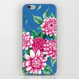 Peony design green and red iPhone Skin
