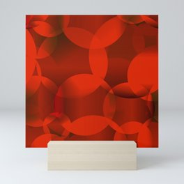 Abstract soap of orange molecules and transparent bubbles on a red background. Mini Art Print