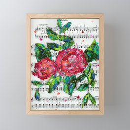 Melody - Floral - Piano notes Framed Mini Art Print