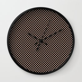 Black and Maple Sugar Polka Dots Wall Clock