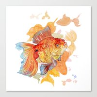 Canvas Prints featuring Goldfish by Farrukh Juraev