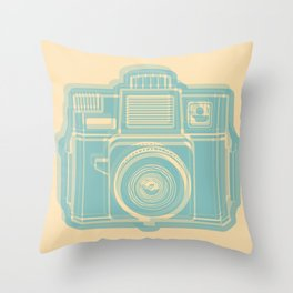 I Still Shoot Film Holga Logo - Reversed Turquoise/Tan Throw Pillow
