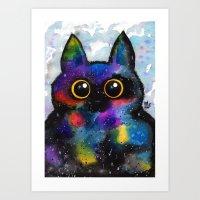 Galactic Cat Luna Art Print