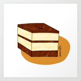 A square tiramisu cake Art Print