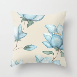 Blue Magnolias on Cream Throw Pillow
